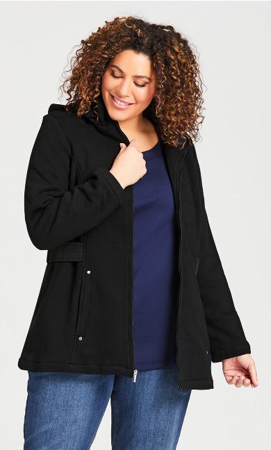 Plus Size Fleece Parka - black