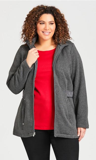 Plus Size Fleece Parka - charcoal