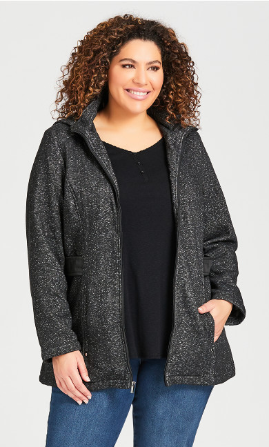 Plus Size Tweed Fleece Parka - black