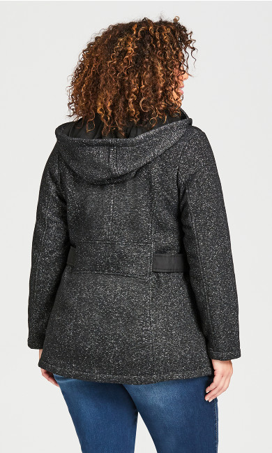 Tweed Fleece Parka - black