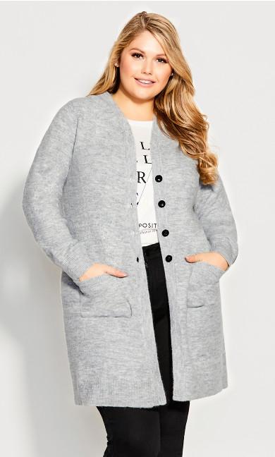 Plus Size Jaelyn Hooded Longline Cardi - gray marle