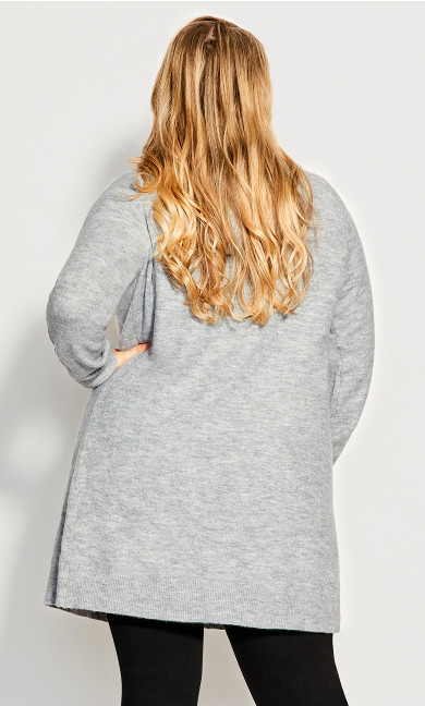 Jaelyn Hooded Longline Cardigan - gray marle