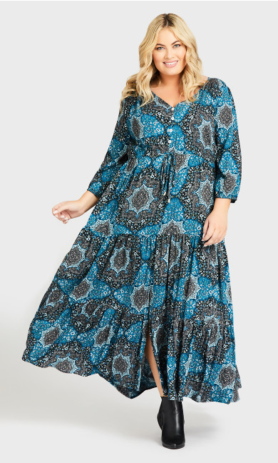 Plus Size Maisie Maxi Dress - petrol print