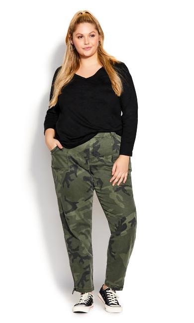 Plus Size Alena Pant - khaki camo