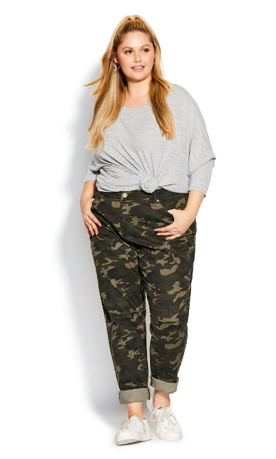 Plus Size Lena Camo Pant Khaki - average