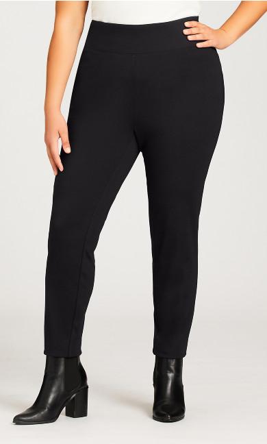 Plus Size Ponte Pull On Wide Waist Pant Black - average