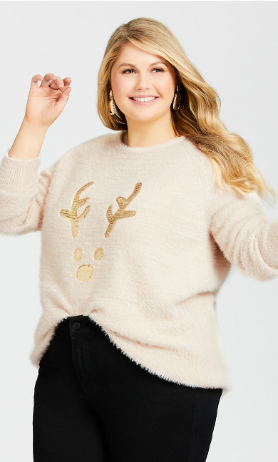 Plus Size Chrissy Reindeer Sweater - ivory