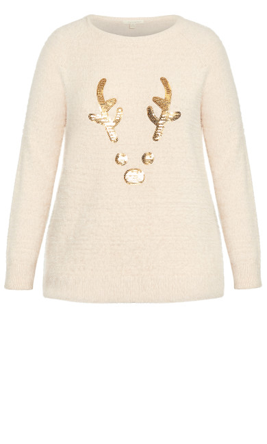 Reindeer Sweater - ivory