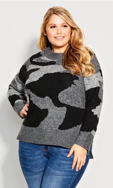 Plus Size Nova Crop Sweater - black camo