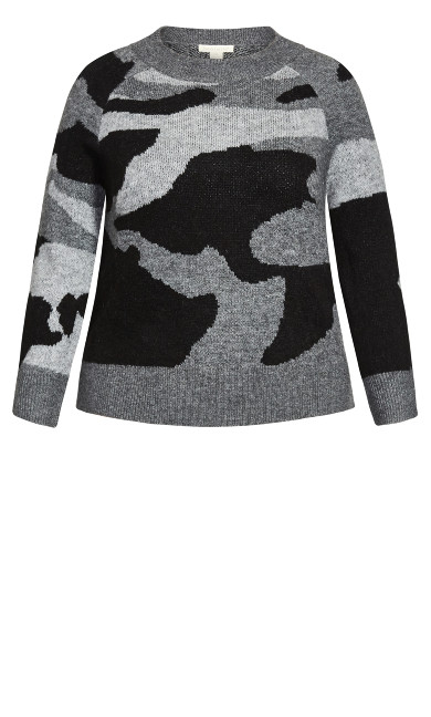Nova Crop Sweater - black camo