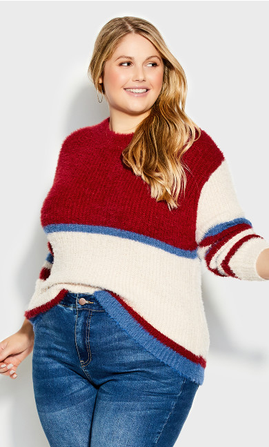 Plus Size Remy Sweater - red stripe