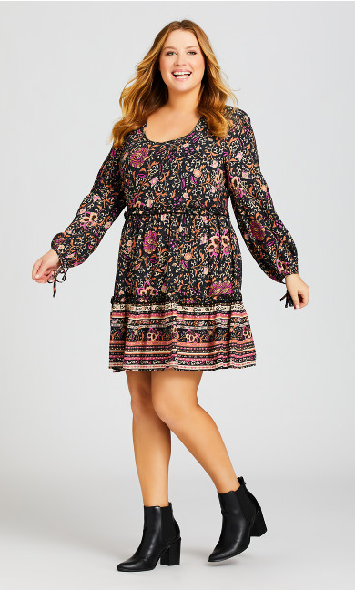 Plus Size Jessa Print Dress - vine print