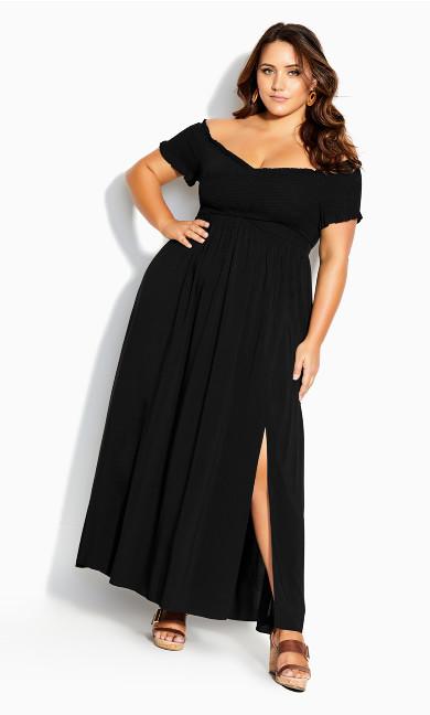 Dress V Shirred Maxi - black