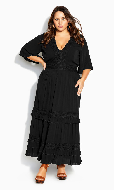 Dress Endless Lace Maxi Dress - black