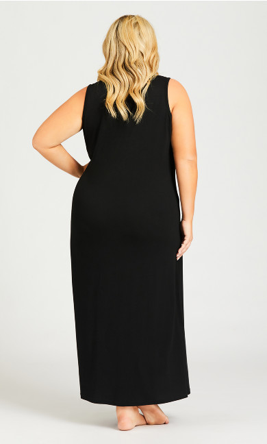 Cold Outside Maxi Sleep Dress - black