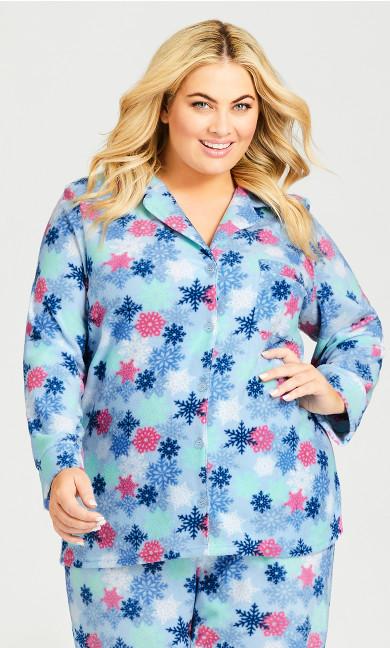 Plus Size Snowflake Button Fleece Sleep Top - blue