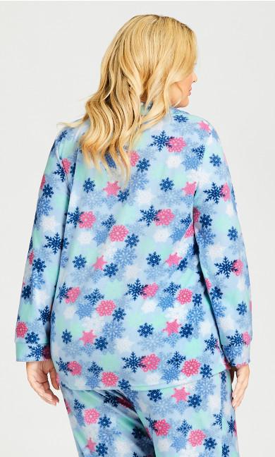 Snowflake Button Fleece Sleep Top - blue