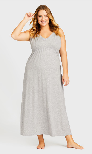 Plus Size Sexy Maxi Sleep Dress - gray