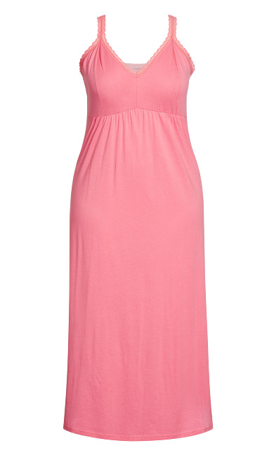 Lace Bodice Maxi Sleep Dress - pink