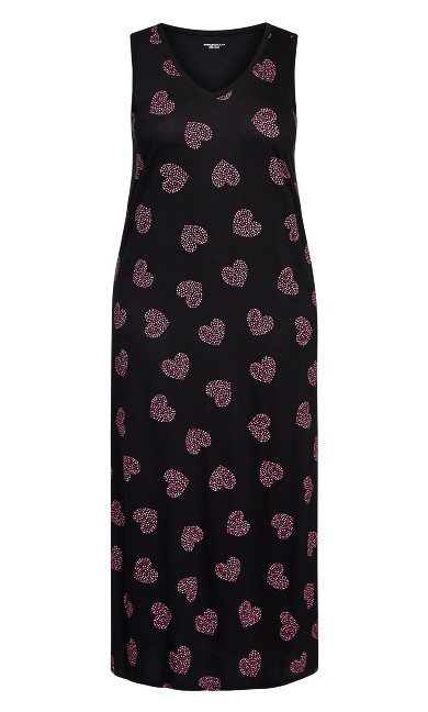Pink Heart Maxi Sleep Dress - black