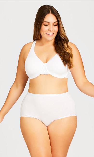 Plus Size Basic Cotton Full White Brief Panty