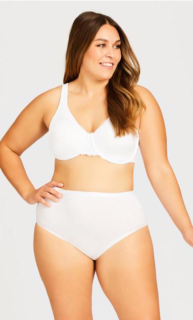 Plus Size Basic Comfort Cotton Modern White Brief Panty