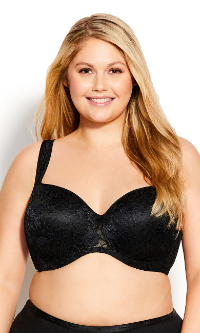 Plus Size Lace Balconette Bra - black