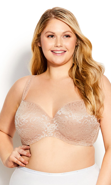 Plus Size Lace Balconette Bra - natural