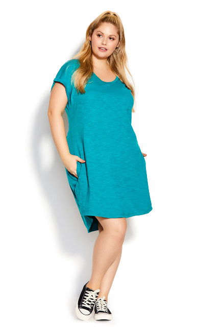 Plus Size Summer Day Dress - jade