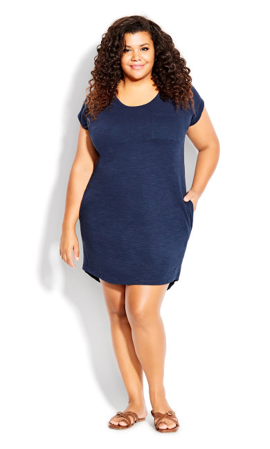 Plus Size Summer Day Dress - navy
