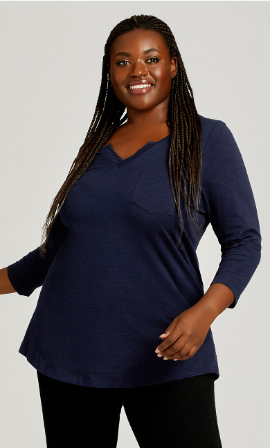 Plus Size 3/4 Sleeve Notch Neck Tee - navy