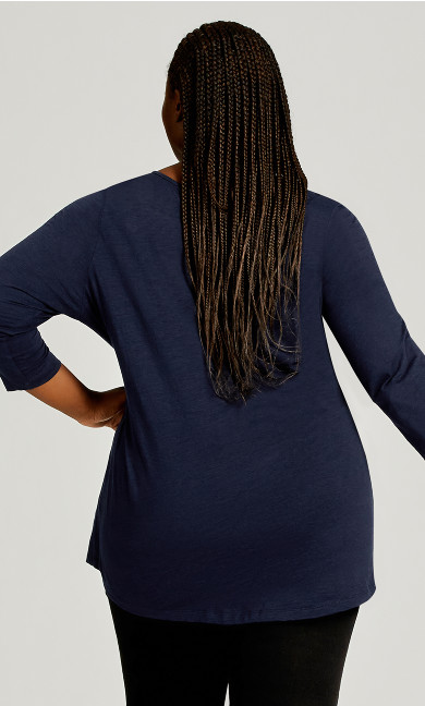 Notch Neck 3/4 Sleeve Tee - navy