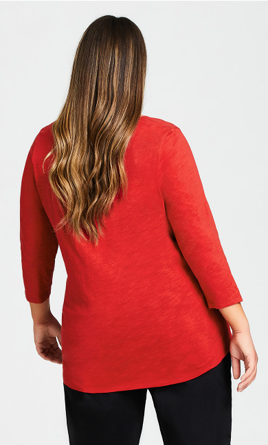 Notch Neck 3/4 Sleeve Tee - red