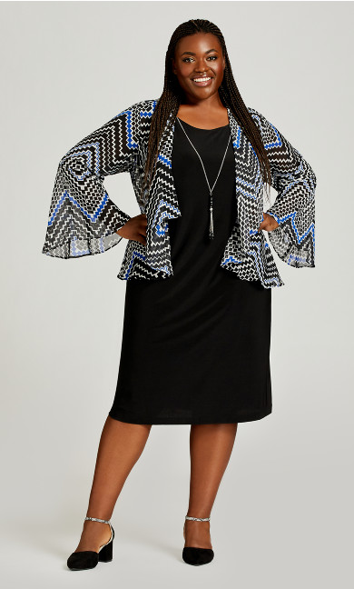 Plus Size Geo Duet Dress - black