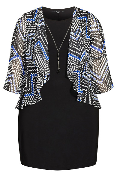 Geo Duet Dress - black