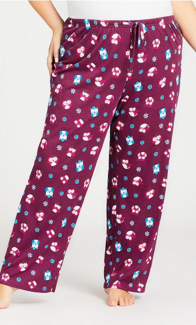 Owl Sleep Pant - plum