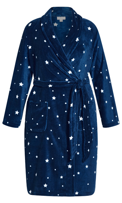 Wrap Front Robe - navy