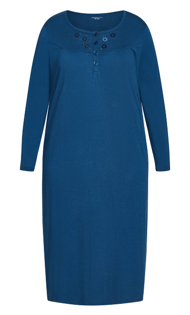 Embroidered Sleep Dress - navy