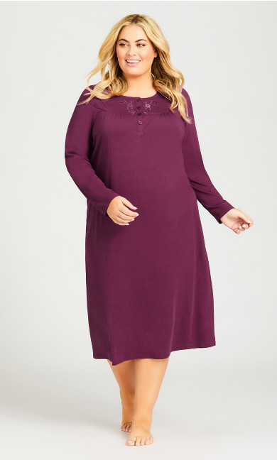 Plus Size Embroidered Nightie - plum