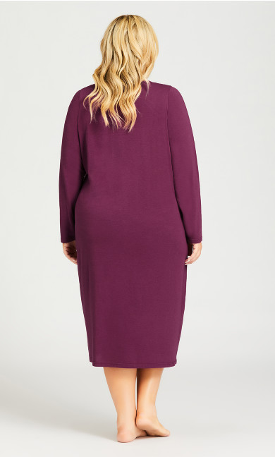 Embroidered Sleep Dress - plum