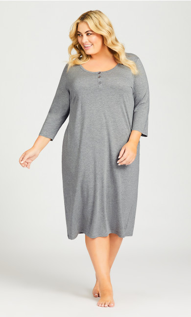Plus Size Placket Sleep Shirt - gray