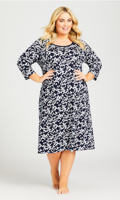 Plus Size Butterfly Sleep Shirt - navy