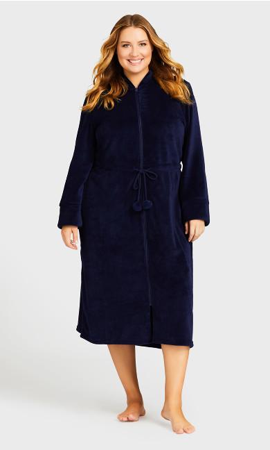 Plus Size Zip Fleece Robe - navy