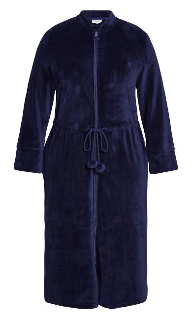Zip Fleece Robe - navy