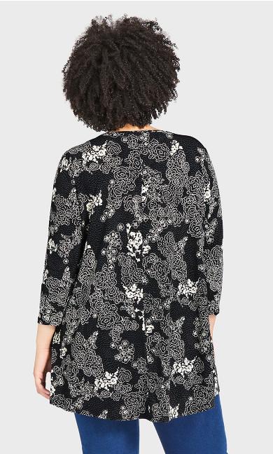Mays Lane Longline Top - black floral