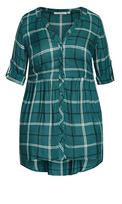 Pleasant Shirt - teal check