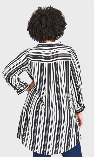 Aspen Longline Shirt - mono stripe