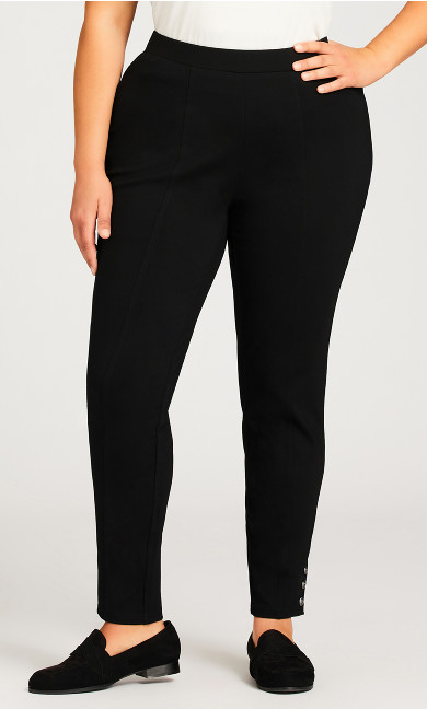 Ponte Button Pant Black - average