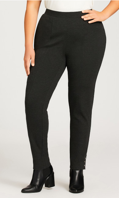 Ponte Button Pant Charcoal - average