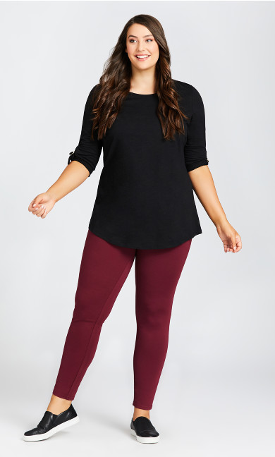 Plus Size Ponte Pull-On Pant Plum - tall